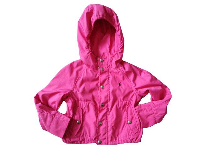 Blousons, manteaux filles Polo Ralph Lauren Blouson logo Autre Rose ref.87888