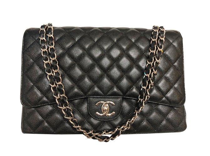 Sacs à main Chanel Maxi Timeless double rabat Cuir Noir ref.87923