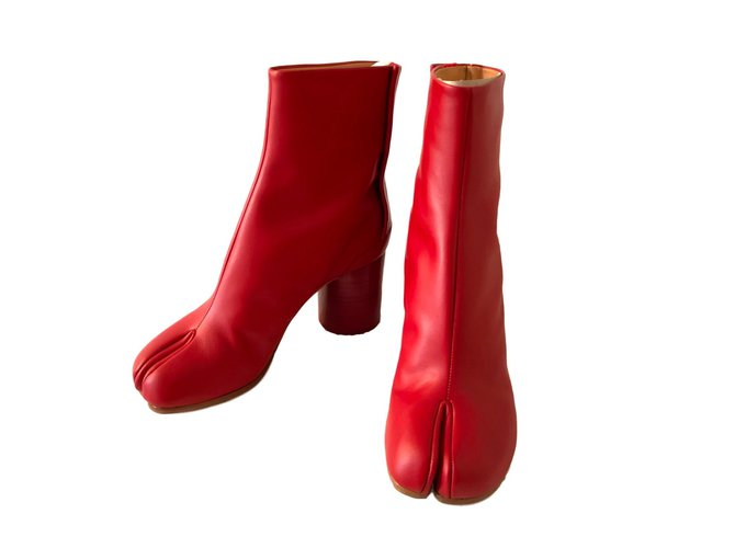 6948be0362b8 Maison Martin Margiela Ankle boots Ankle Boots Leather Red ref.88076 ...