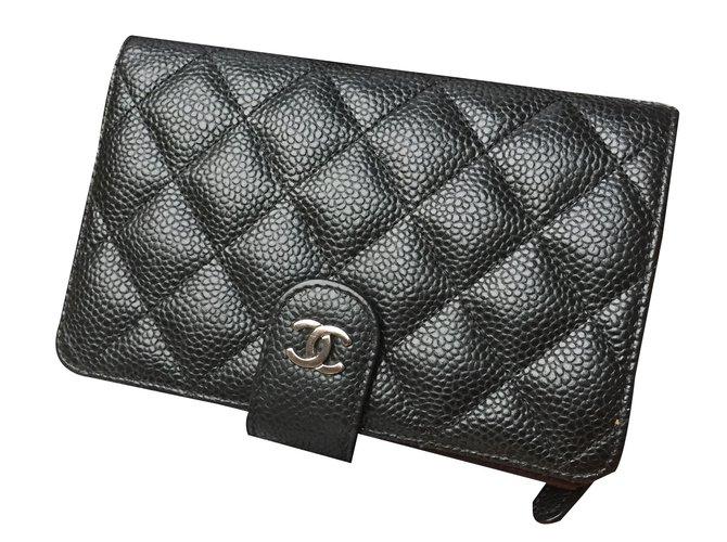 090ddf6f419 Portefeuilles Chanel Portefeuille zippé Cuir Noir ref.88108 - Joli ...