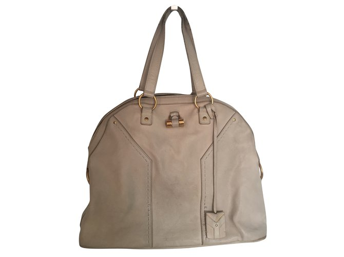 Sacs à main Yves Saint Laurent Boston Muse Cuir Blanc cassé ref.88214