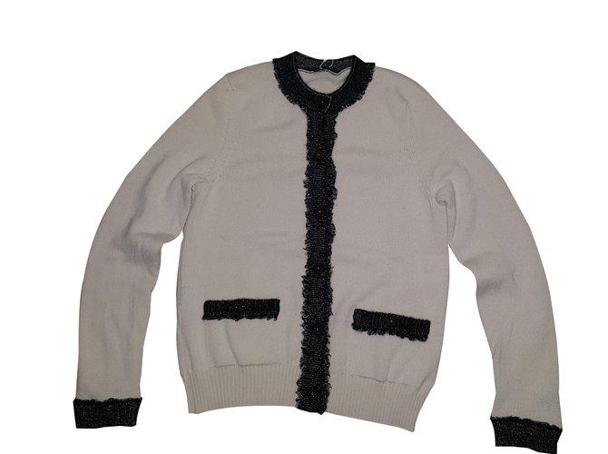 Pulls, Gilets Chanel Cardigan Cachemire Blanc cassé ref.88264