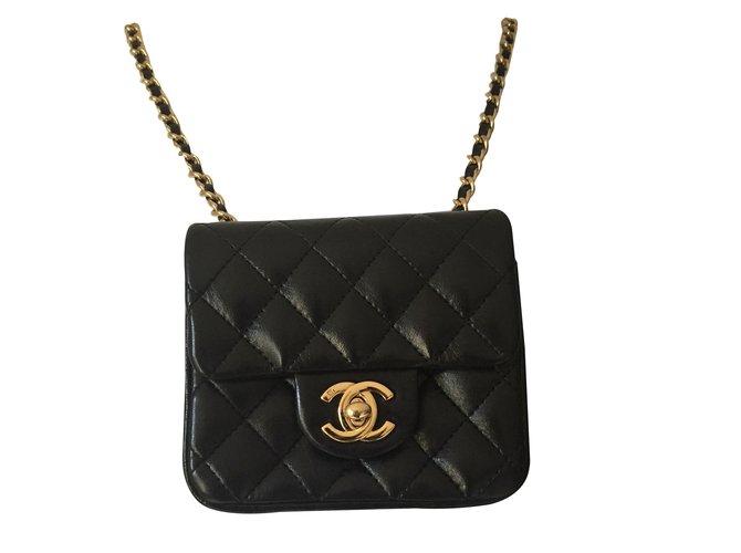 Chanel Classic Handbags Leather Black ref.88279