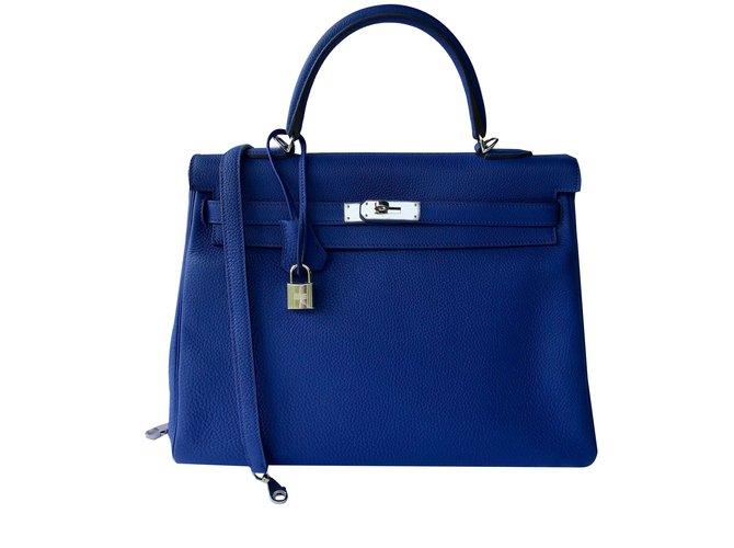 Sacs à main Hermès Kelly retournée 35 Cuir Bleu ref.88316
