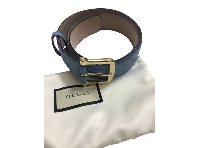c2b21242d99 Ceintures Gucci Ceinture monogramme Cuir Bleu clair ref.88323 - Joli ...