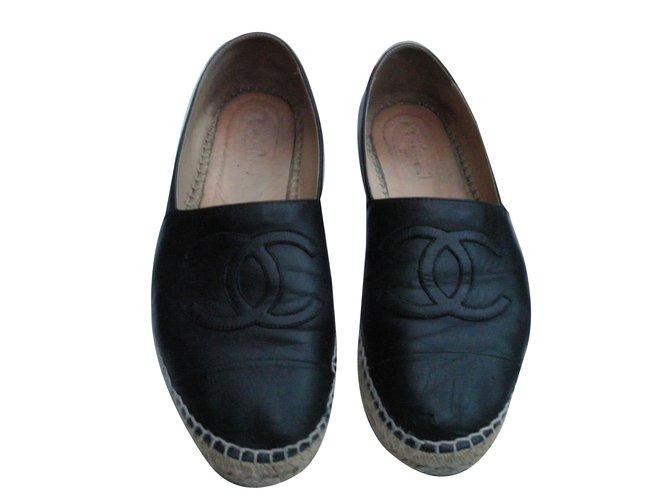 Chanel Espadrilles Espadrilles Leather Black ref.88331