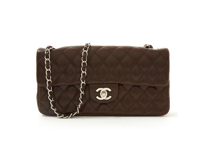 Classique Chanel TIMELESS 25 CHOCO MINCE Cuir Marron foncé  ref.88399