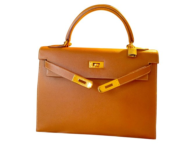 Hermès Kelly 32 Handbags Leather Beige ref.88416