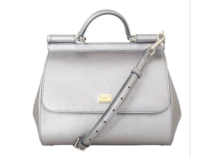 d0b975cf1576 Dolce   Gabbana Dolce   Gabbana silver leather MISS SICILY bag Handbags  Leather Silvery ref.