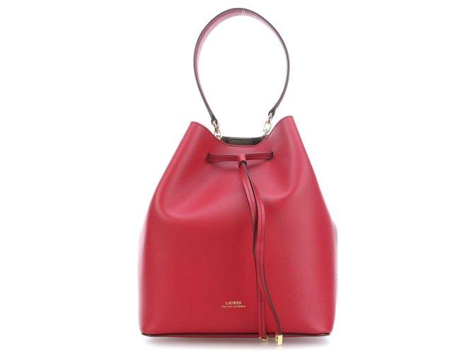 6412bcd63c3879 Sacs à main Ralph Lauren Collection Dryden Debby Hobo cuir de vachette  lisse rouge Cuir Rouge