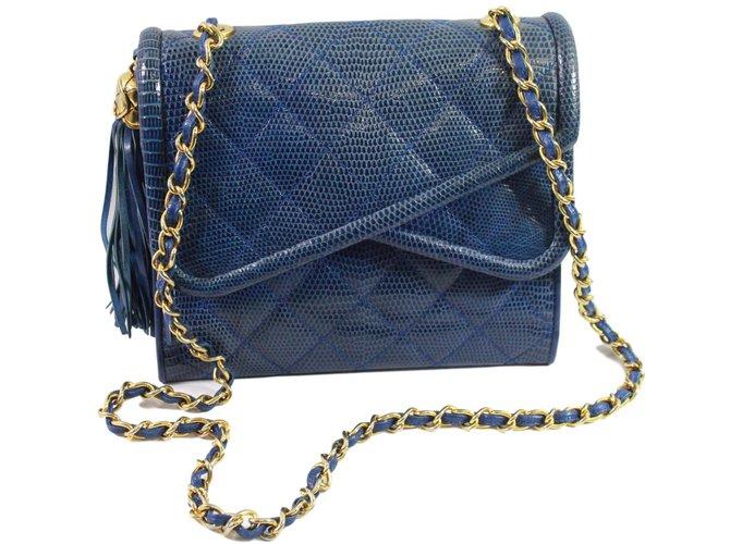 Chanel Lizard shoulder bag Handbags Exotic leather Blue ref.88490