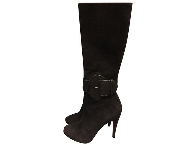 5c42820c02d Christian Louboutin Boots Boots Velvet Dark brown ref.88506 - Joli ...