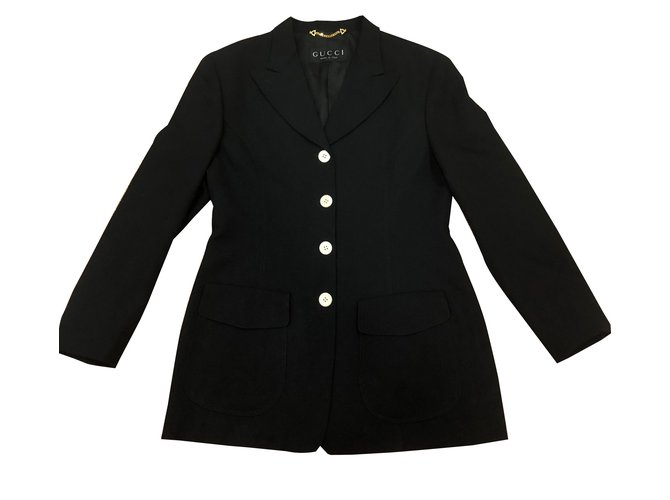 ac9a7035e0d8 Vestes Gucci Blazer   veste de costume Laine Noir ref.88679 - Joli ...