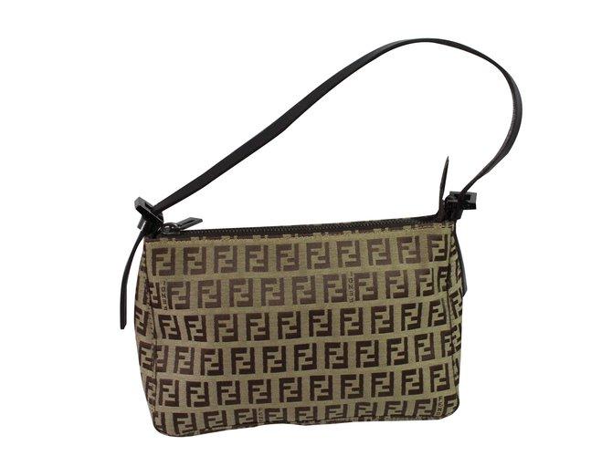 52b92d5fd8 Fendi Shoulder bag Handbags Cloth Brown ref.88797 - Joli Closet