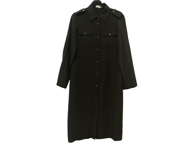 Céline silk shirt dress Dresses Silk Chocolate ref.88808