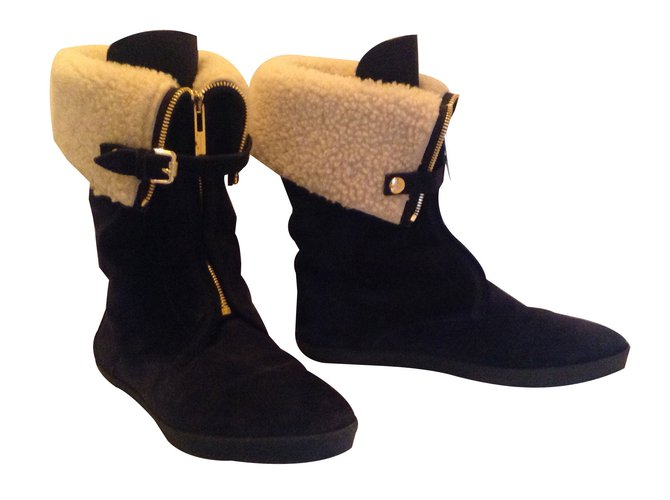 Burberry Snow Boot Ankle Boots Suede Dark blue ref.88849