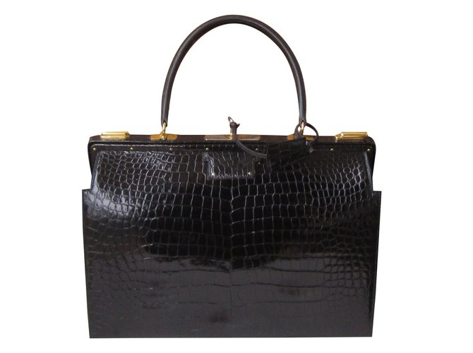Hermès 404 Doctor Bag Handbags Exotic Leather Black