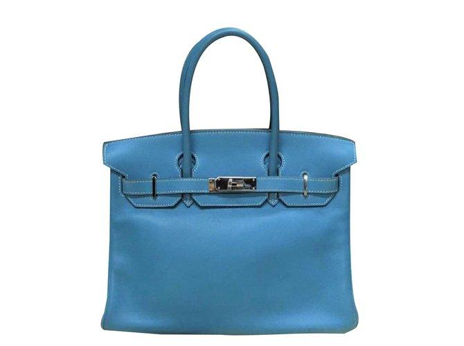 Hermès Birkin 30 Blue Jean swift leather Handbags Leather Blue ref.88854