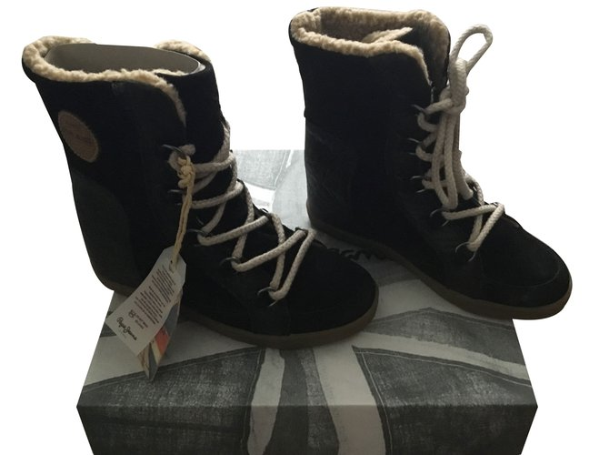 Great Pepe Jeans Women's Black Ankle Boots Boots Brando