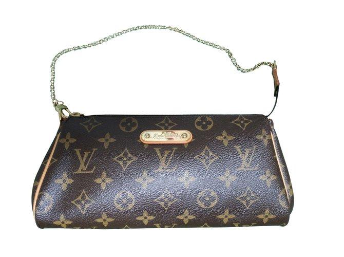 f827bebf5955 Louis Vuitton Monogram eva pouch Clutch bags Cloth Dark brown ref.88990