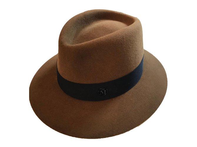 Maison Michel Camel Hat Hats Wool Beige ref.89090