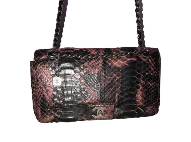 d6ed87f66e4a Chanel Snakeskin Medium Flap bag Handbags Python Python print ref.89142