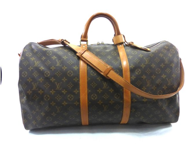 fdcc5f8bea6f9 Louis Vuitton Keepall 60 bandoulier monogram Travel bag Leather Brown  ref.89164