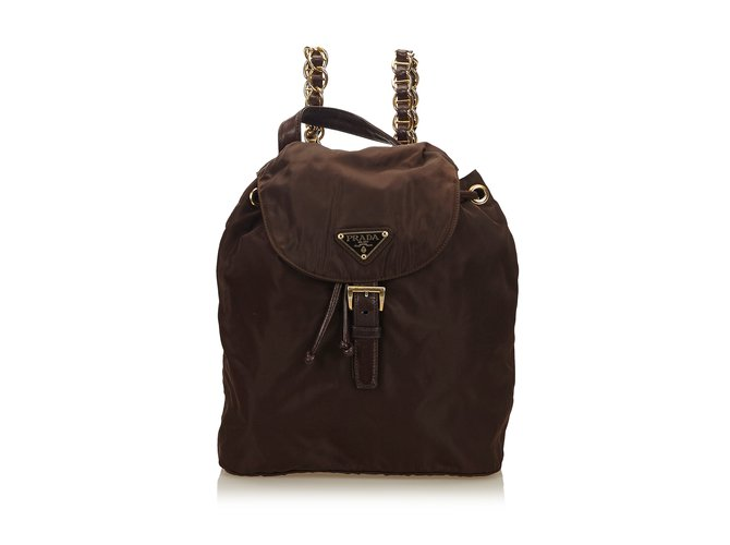 2d455b8bdf1a Prada Nylon Chain Drawstring Backpack Backpacks Leather,Other,Nylon,Cloth  Brown,Dark