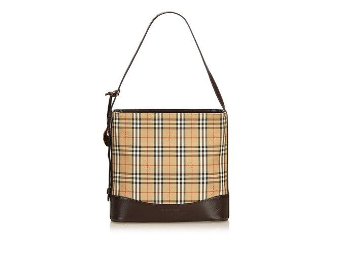 Burberry Haymarket Check Jacquard Shoulder Bag Handbags Leather ... 9d241f13bf42f