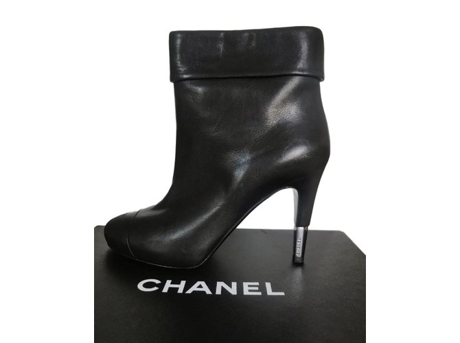 Bottines Chanel Bottines Cuir Noir ref.89325