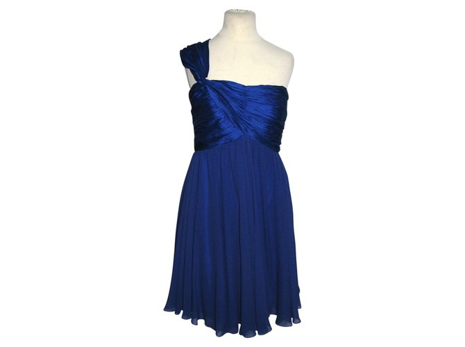 c8ee33b7e2b0 Marchesa One shouldered dress Dresses Silk Blue ref.89329 - Joli Closet