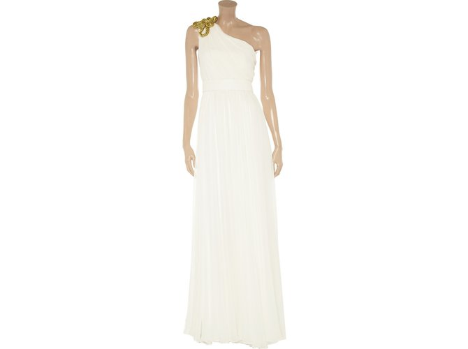 ae815e41 Marchesa One shouldered ball gown Dresses Silk White,Golden ref.89340