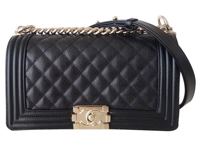 Sacs à main Chanel BOY MOYEN Cuir Noir ref.89416