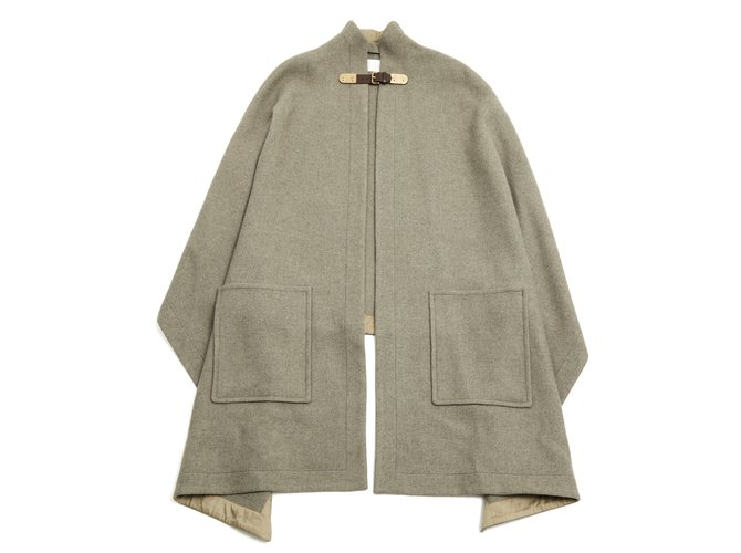 Chloé Gris taupe cloak Coats, Outerwear Wool Grey,Taupe ref.89465