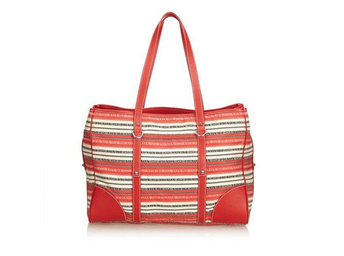 6cd2aeeb42e3 Prada Striped Jacquard Tote Bag Totes Leather