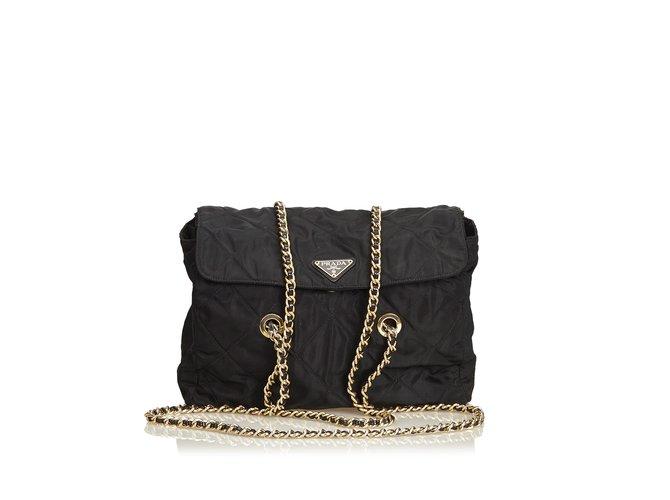 Prada Quilted Nylon Chain Tote Bag Totes nylon,Cloth Black ref.89499 ... ba7c53b3ed