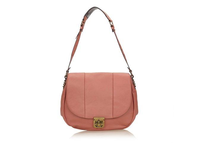 Chloé Leather Elsie Neo Folk Shoulder Bag Handbags Leather,Other Pink ref.89531