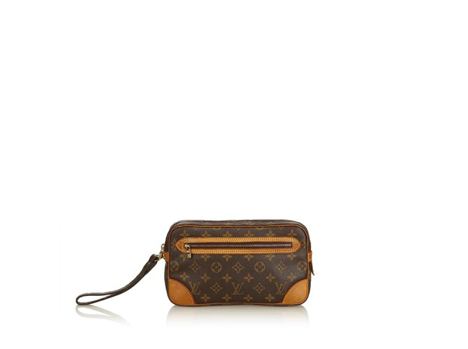 e7cbba67903a Louis Vuitton Monogram Marly GM Wrist Strap Clutch bags Leather ...