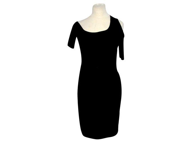 Helmut Helmut Lang Cold shoulder dress Black Viscose Elastane  ref.89638