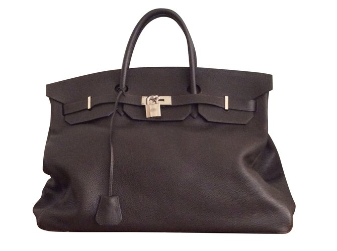 Hermès Birkin 48 hours (weekend) Travel bag Leather Dark brown ref.89654