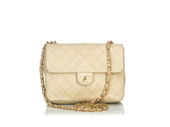 64e8ee0de194b0 Chanel Classic Mini Flap Crossbody Bag Handbags Leather Brown,Beige  ref.89749