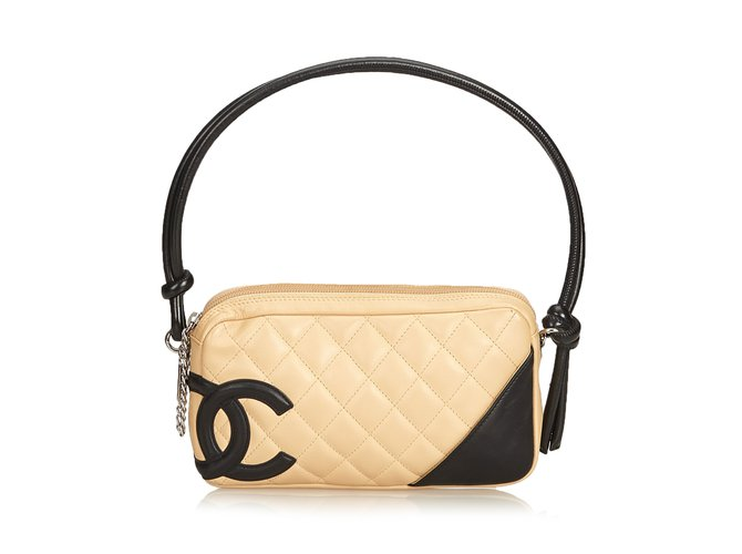 603d41db4d4c26 Chanel Cambon Line Pochette Handbags Leather Brown,Black,Beige ref.89754