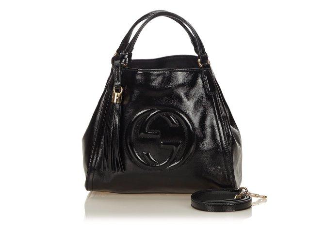 Cabas Gucci Sac Patent Soho à poignée sur le dessus Cuir,Cuir vernis Noir  ref 5472f9eccde