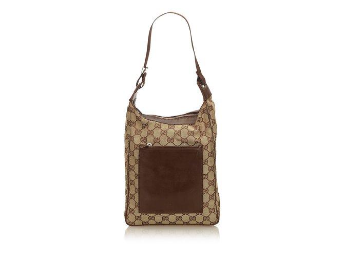 0676b51e4 Gucci Guccissima Jacquard Shoulder Bag Handbags Leather,Other,Cloth Brown ,Beige,Dark