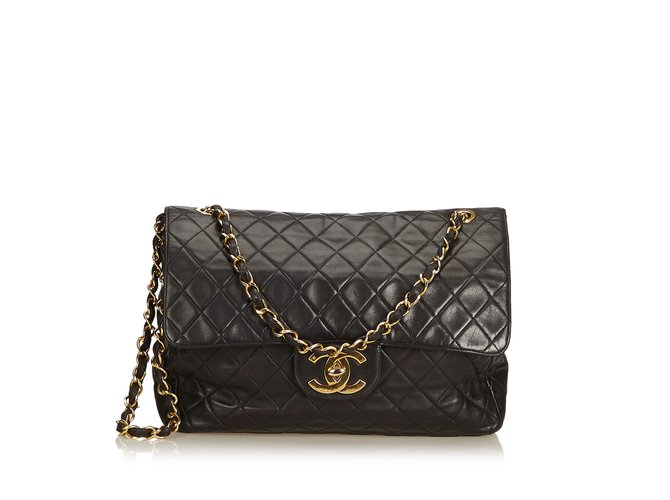 719bf87a98b43 Chanel Classic Maxi Lambskin Leather Single Flap Bag Handbags Leather Black  ref.89830