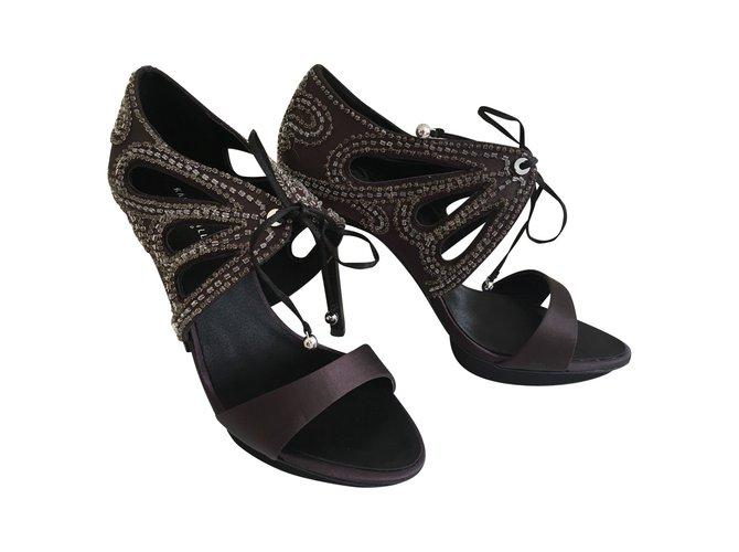 3fe236475ae Karen Millen Encrusted evening sandals Heels Satin Chocolate ref.89881