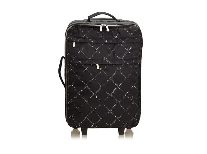 4c8b6ffae9e1 Chanel Old Travel Line Trolley Travel bag Nylon,Cloth Black,White ref.89972