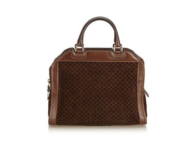 6aed00197 Gucci Old Gucci Suede Handbag Handbags Suede,Leather,Other Brown,Dark brown  ref