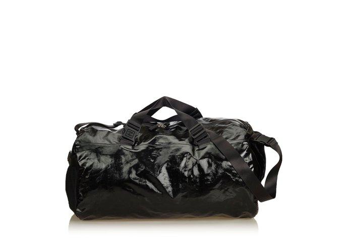 856674c39a46 Chanel Coated Canvas Duffle Bag Travel bag Cloth,Nylon,Cloth Black,Grey ref