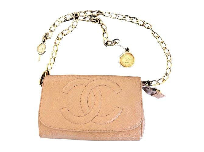 Pochettes Chanel Ceinture d'pochette Cuir Beige ref.90064